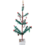 Vintage Christmas Tree with Ornaments, garland and Old Indent Topper