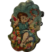Christmas Tree Tin Litho Candle Clip with Angel