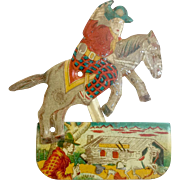 Rare 1940s Tin Cowboy on Horse Clicker Toy