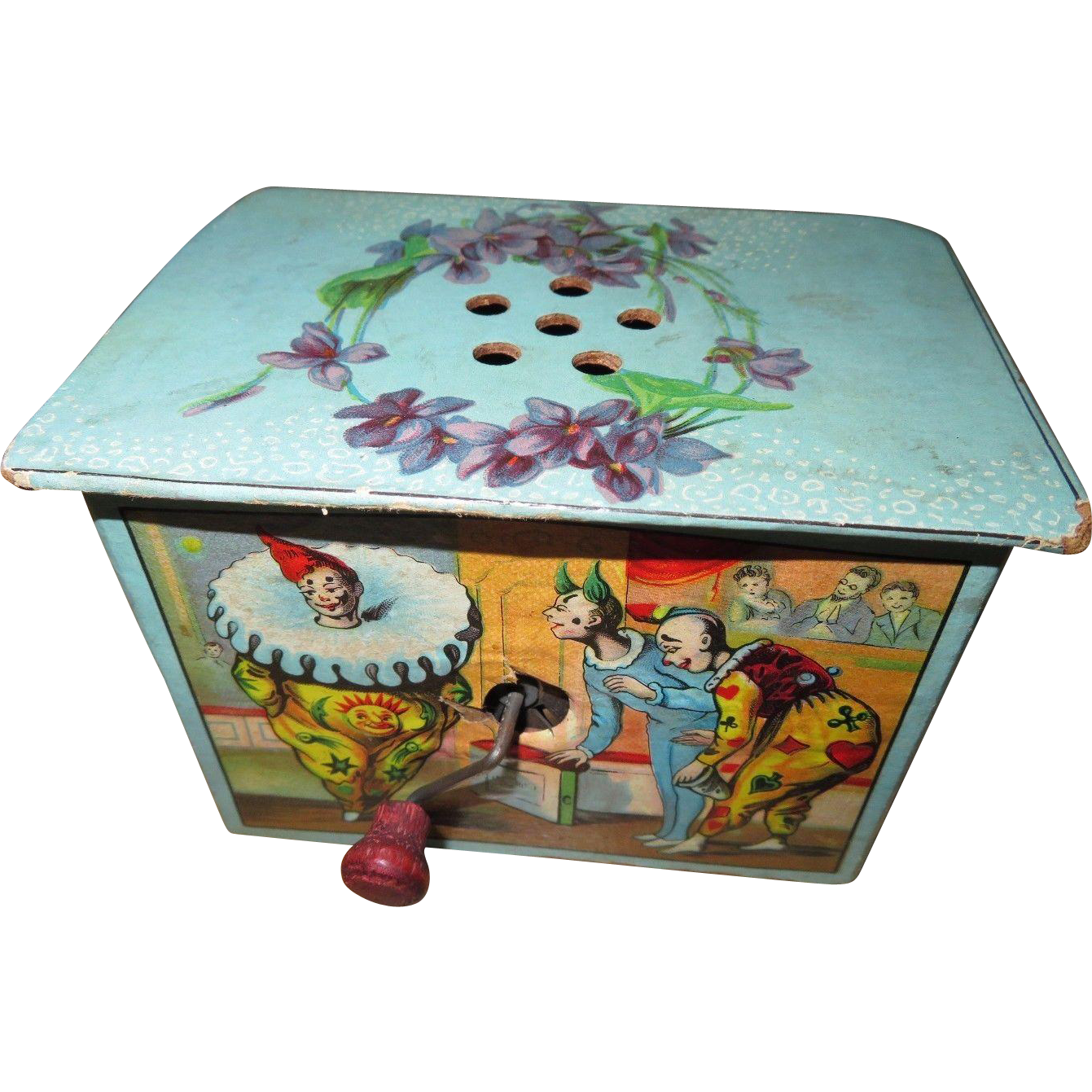 Vintage Clown Lithograph Music Box