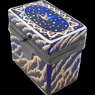 19th Century Enamel Painted Cobalt Glass Jewelry Box