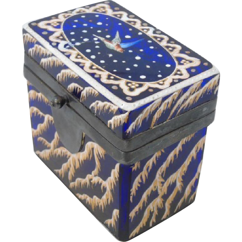 19th Century Enamel Painted Cobalt Glass Jewelry Box