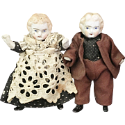 All Bisque Pair of Dollhouse Dolls