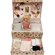 Child's Sewing Trunk with A.M. German Doll