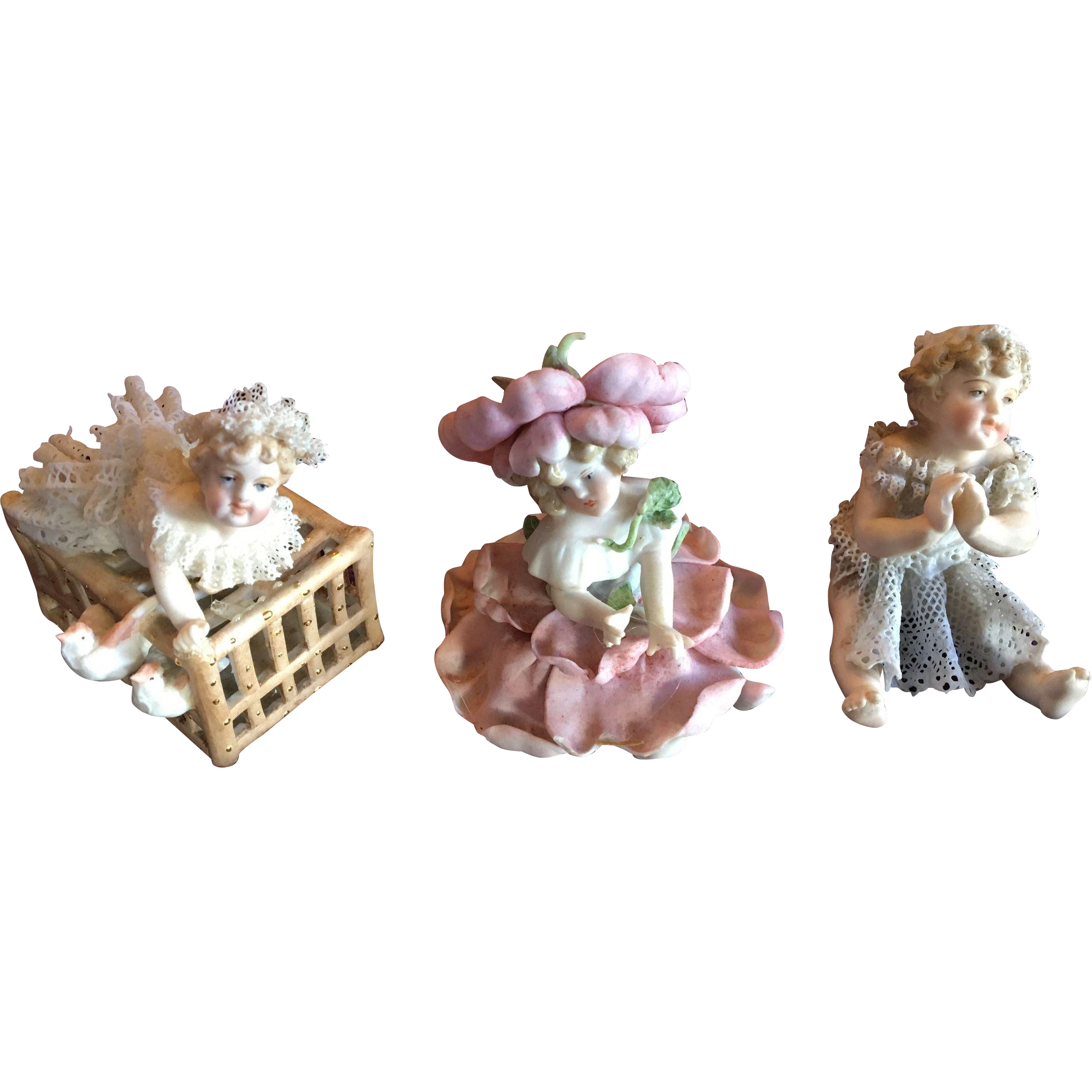 Miniature Dresden Lace Piano Babies and Flower Baby Doll