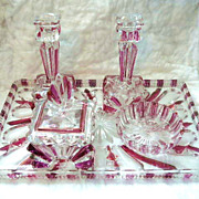 Czech Cut Glass Deco Dresser Vanity Set