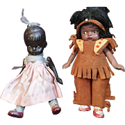 Vintage Black and Indian All Bisque Dolls