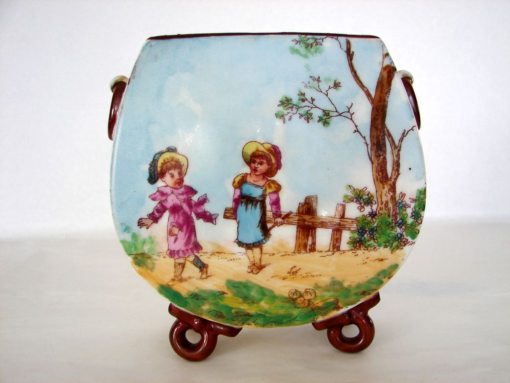Porcelain Flat Pouch Vase with Handpainted Scene of  Children Playing