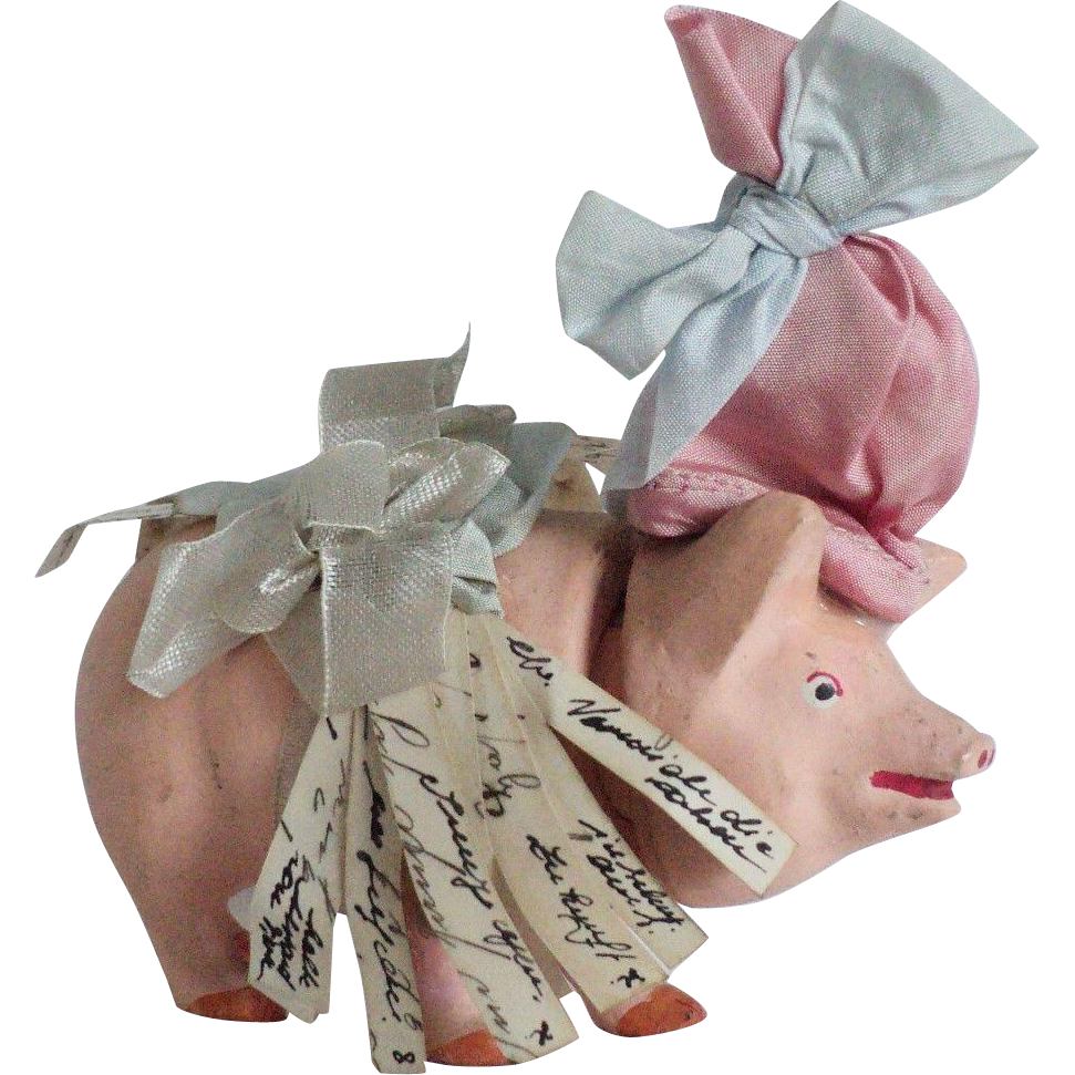 Awesome German Candy Container Good Luck Pig with Fortunes