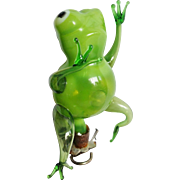 Handblown Glass Figural Frog Clip on Christmas Ornament