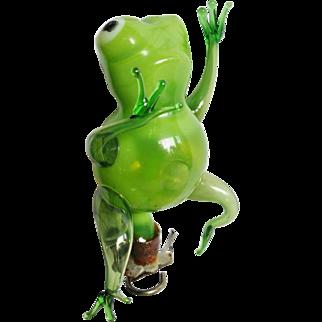 Handblown Glass Figural Frog Clip on Christmas Ornament