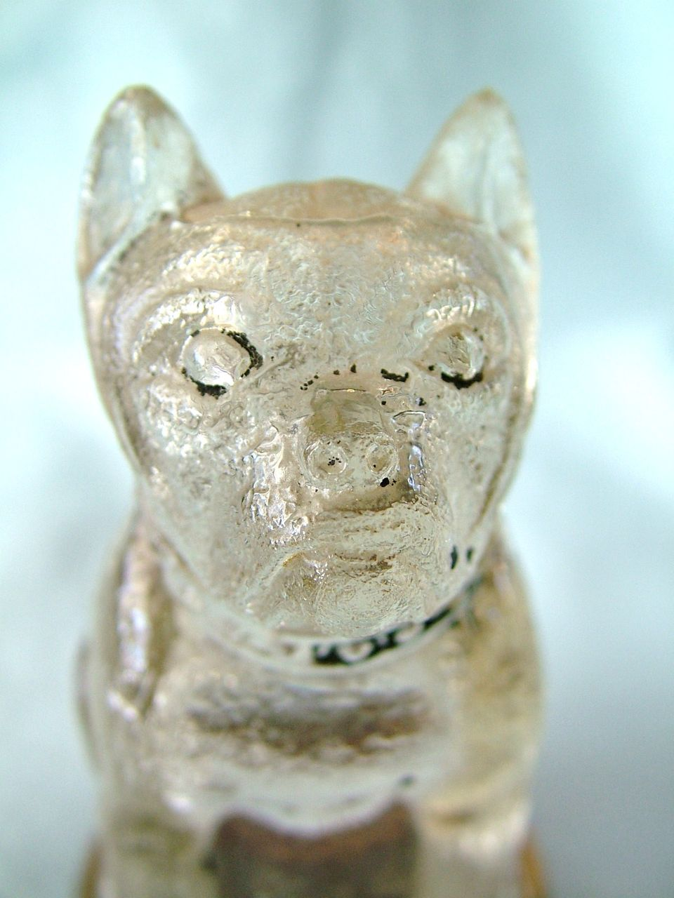 Bulldog Vintage Figural Glass Candy Container