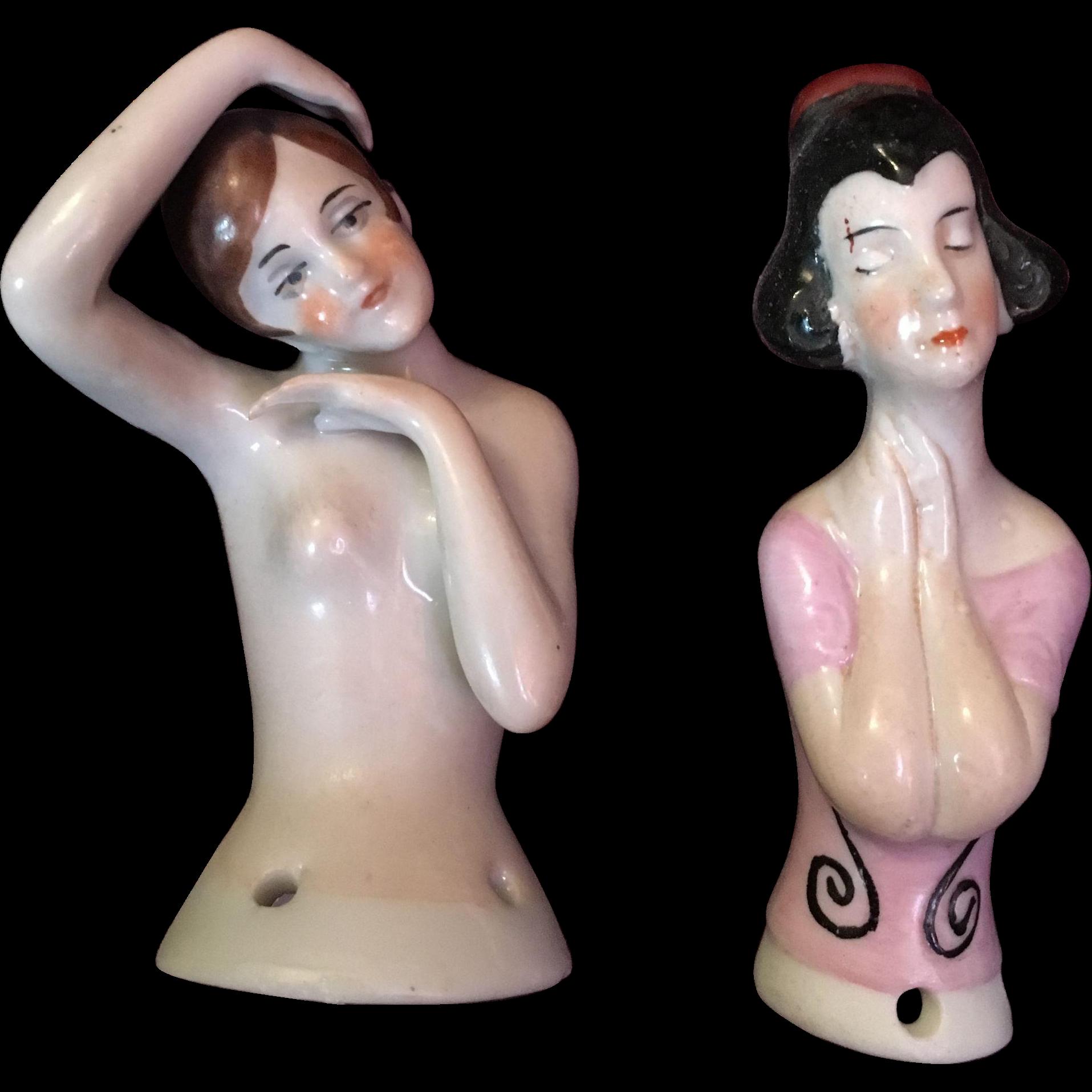 German Pincushion Pair of Half Dolls
