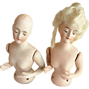 Pair of German Half Pincushion Dolls