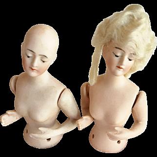 Pair of German Half Pincushion Dolls