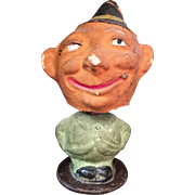 Halloween Bobble Head Paper Mache Pumpkin Man