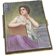Large Handpainted Portrait Tile on Handkerchief Box - on hold
