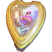 Antique Heart Shaped Trinket Box with Handpainted Scene