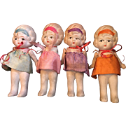 Set of Four Japan All Bisque Baby Dolls