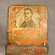 Juicy Fruit Gum Advertising Tin Match Holder with Striker