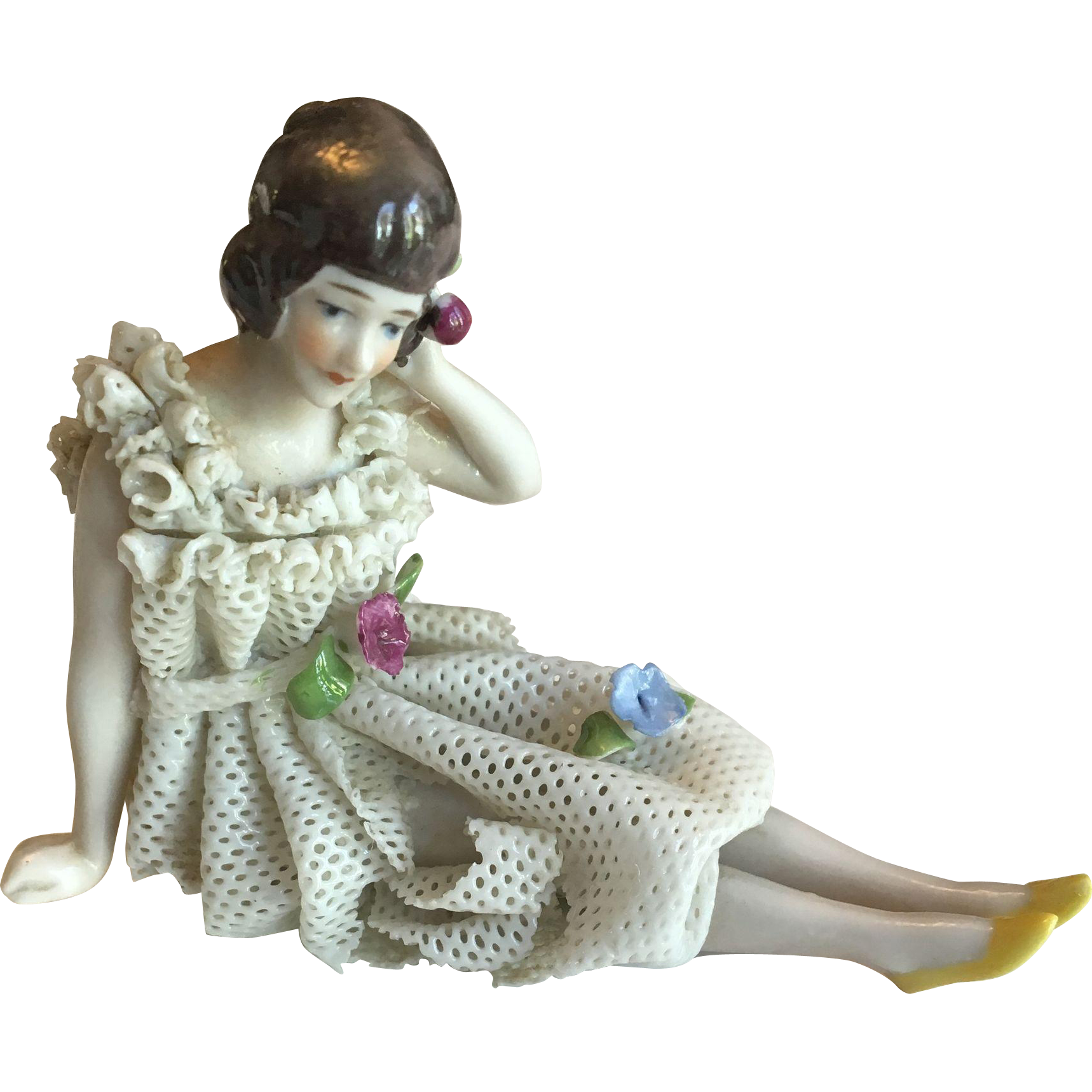 German Bathing Beauty Figurine with Lace Dress