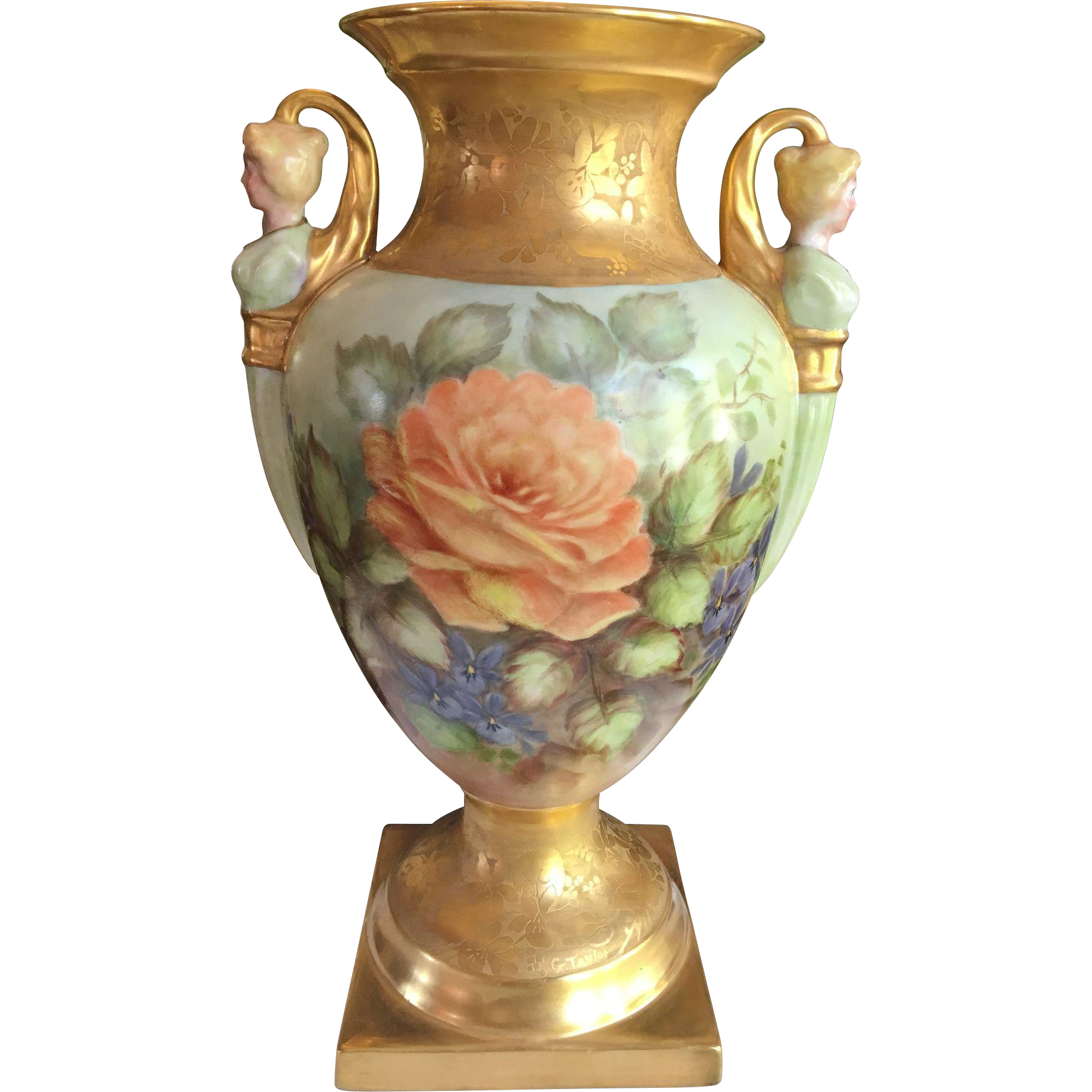 Huge Limoges Handpainted Vase with Figural Handles