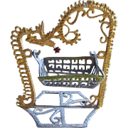 Dollhouse Miniature Metal Swinging Baby Cradle