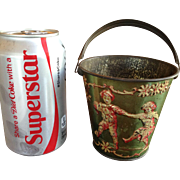 Very Old Miniature Tin Candy or Sand Pail with Embossed Images of Children at Play