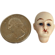 Miniature All Bisque Doll Head Jester Look