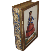 "Antique Mourning Memento Box Reverse Painting on Glass ""Forget Me Not"" Miniature Book"