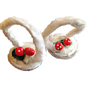Pair of Chenille Mushroom Basket Ornaments