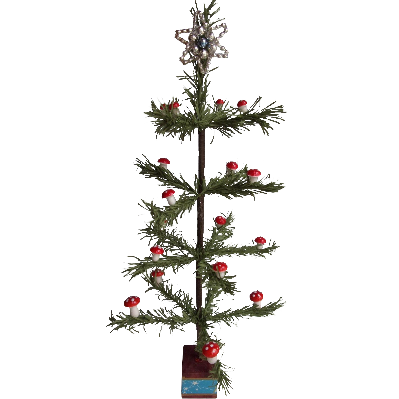 Czech Miniature Mushroom Decorated Christmas Tree
