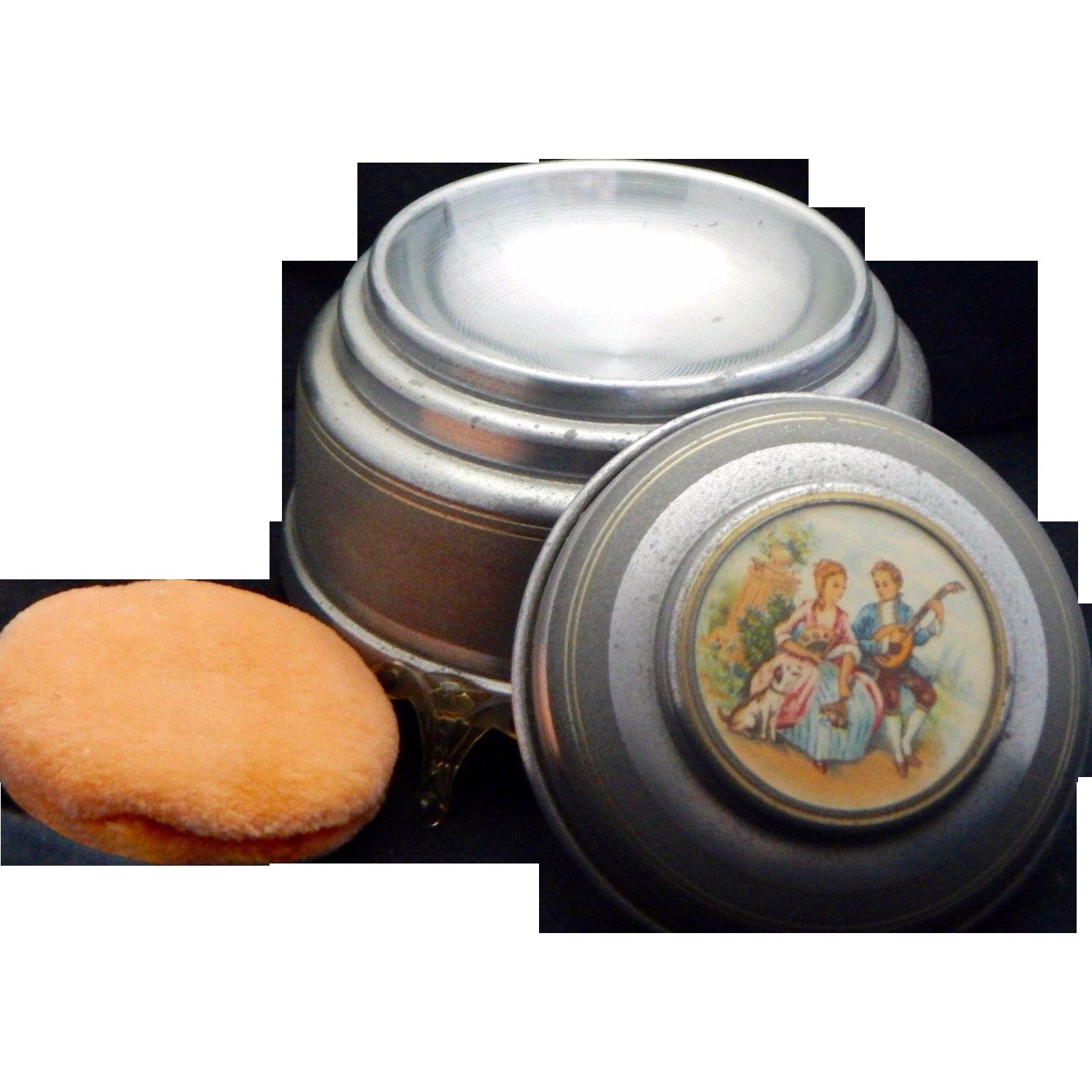 Unique Vintage Musical Powder Puff Compact