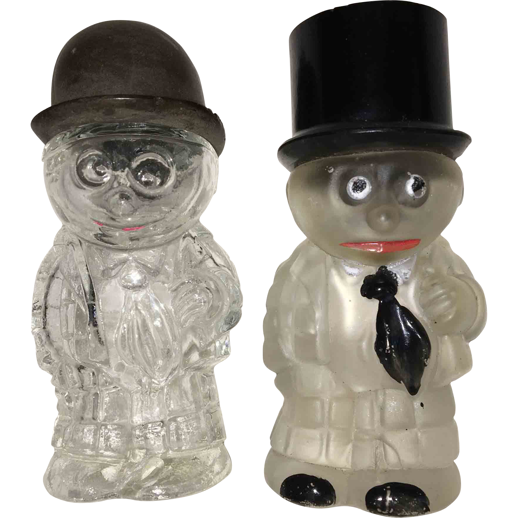 Pair of Glass Man Figural Perfume Bottles or Candy Containers
