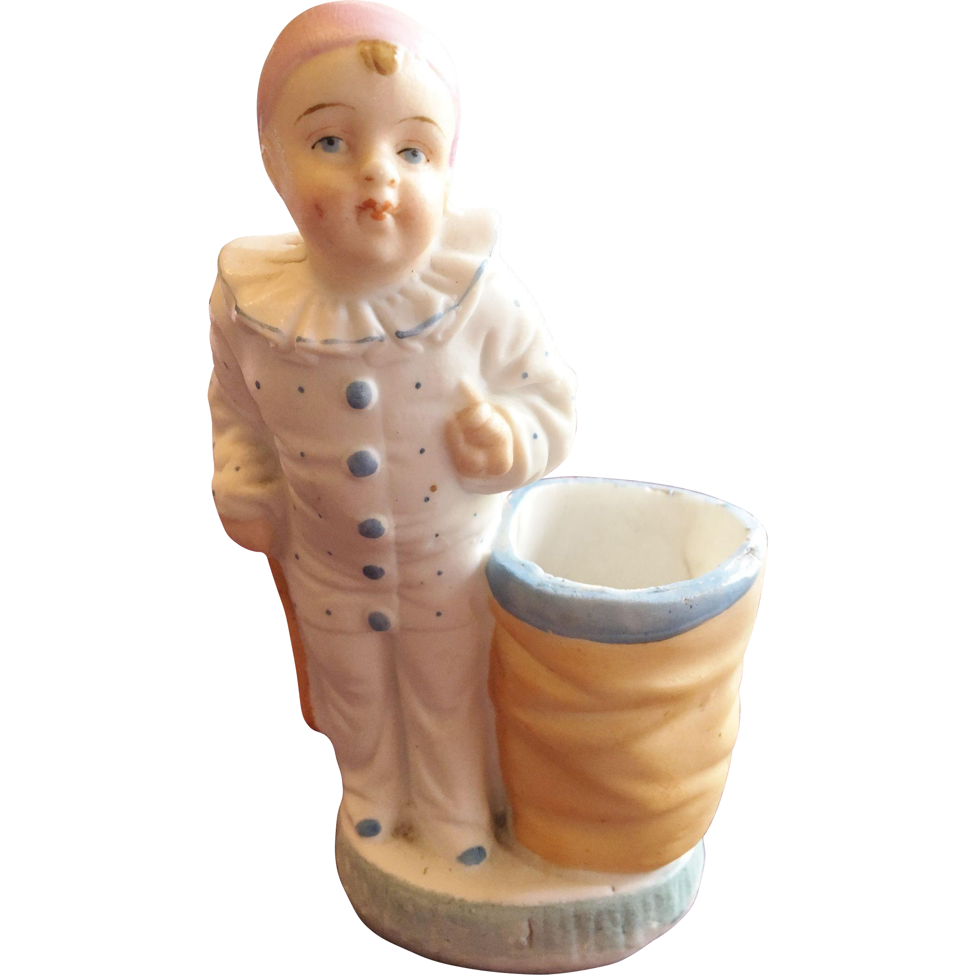 Pierrot Porcelain Figurine with Vase