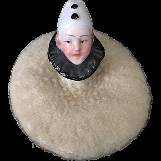 Pierrot Clown Half Doll Powder Puff or Pincushion