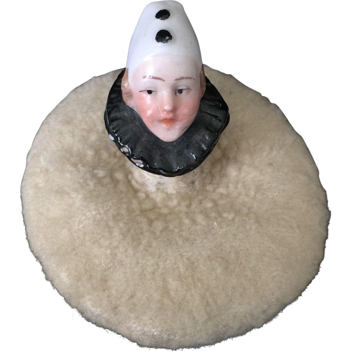 Pierrot Clown Half Doll Powder Puff or Pincushion