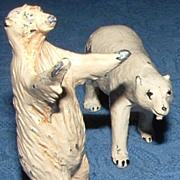 Vintage  Cold Painted Metal Polar Bear Miniatures