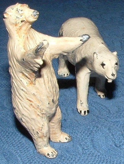 Vintage  Cold Painted Metal Polar Bear Miniatures
