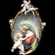 Huge Italian Madonna and Infant Bisque High Relief Plaque w/Cherubs