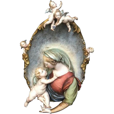 Huge Italian Madonna and Infant Bisque High Relief Plaque w/Cherubs
