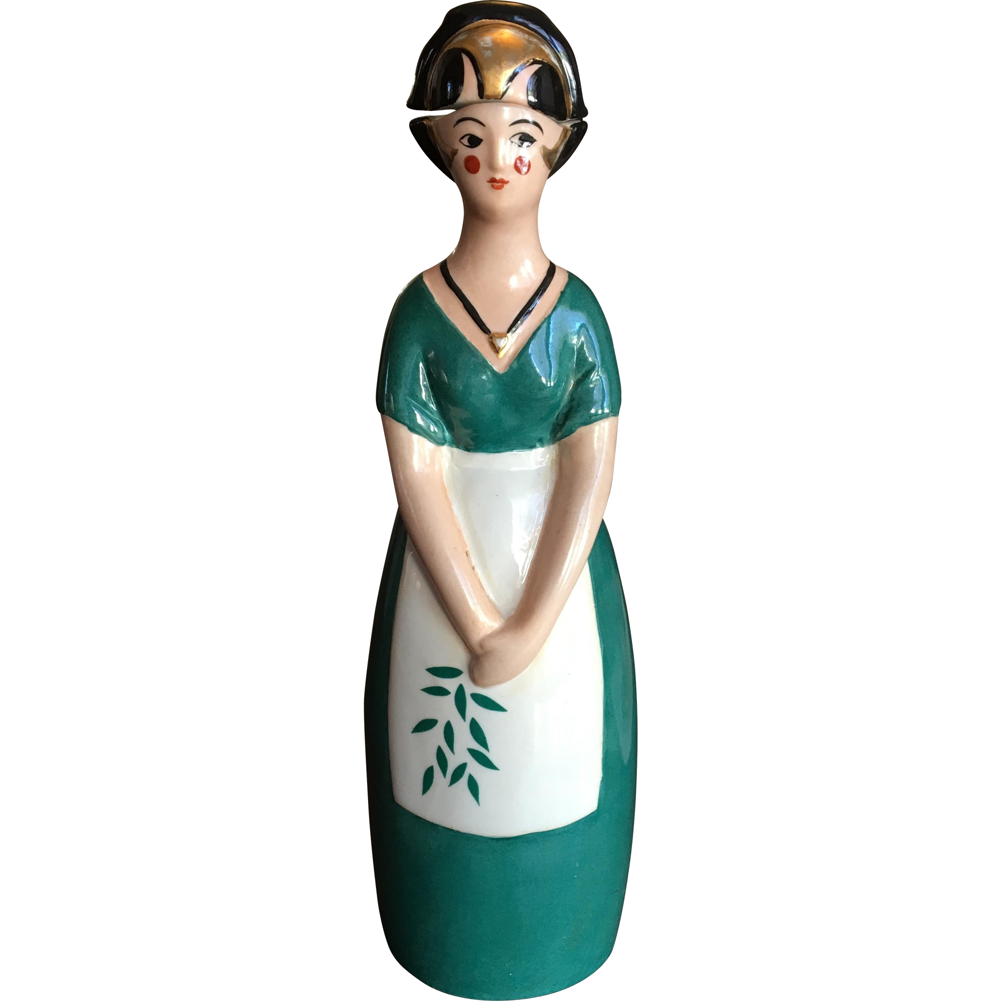 Robj Lady Cusenier Figural Decanter Bottle