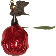 Vintage Christmas Rose Candle Clip Ornament