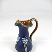 Miniature Royal Doulton Cobalt Blue Ewer Jug