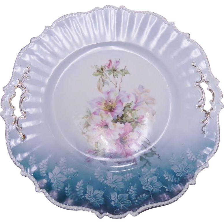 Gorgeous R.S. Prussia Teal Blue Floral Plate