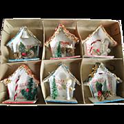 Shiny Brite Little House Ornaments in Original Box