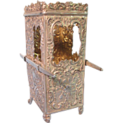 Miniature Silver Sedan Vitrine Chair for Doll or Perfume Bottle