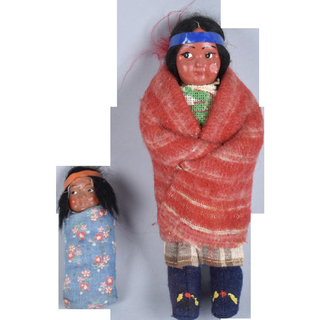 Woman and Baby Indian Skookum Dolls