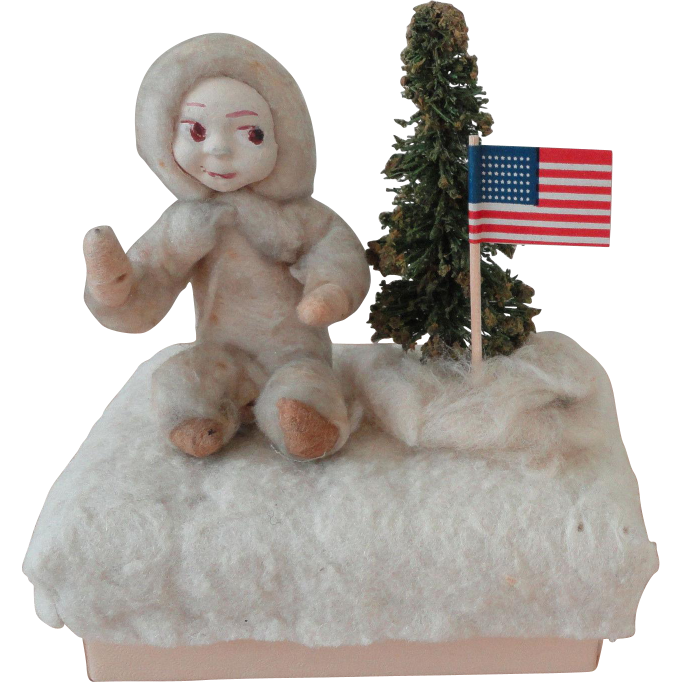 Snowbaby Vintage Christmas Figurine on Candy Container Box