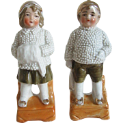 German Snowbaby Boy and Girl Porcelain Figurines